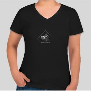 Burke Ingraffia pelican logo t-shirt, ladies cut, v-neck