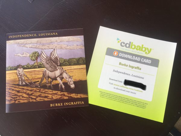 CD Baby download sticker card of Independence, Louisiana by Burke Ingraffia